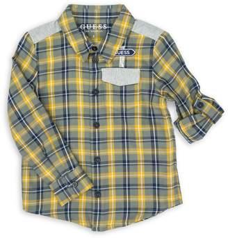 GUESS Little Boy's Checkered Cotton-Blend Shirt