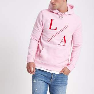 River Island Mens Pink 'LA' flock print slim fit hoodie