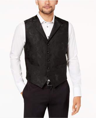 Tallia Orange Men's Modern-Fit Black Tonal Paisley Vest