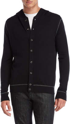 Forte Cashmere Button Hooded Cardigan