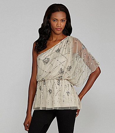Adrianna Papell One Shoulder Beaded Blouse