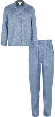 River Island Girls blue planet satin pyjama set