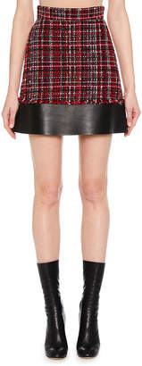 Alexander McQueen Tweed Mini Skirt w/ Leather Hem