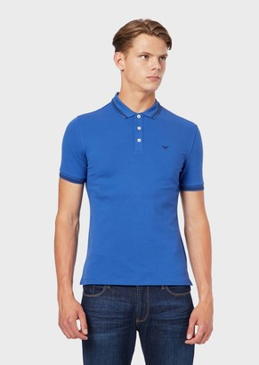 Emporio Armani Cotton Pique Polo Shirt With Contrast Logo Detail On The Chest