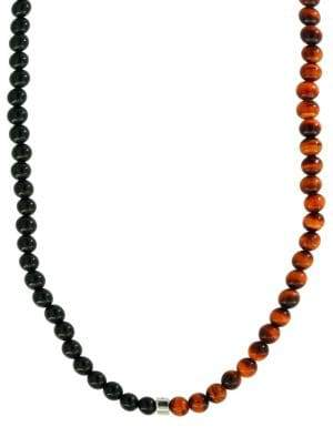 Effy 925 Tiger Eye and Onyx & Sterling Silver Necklace