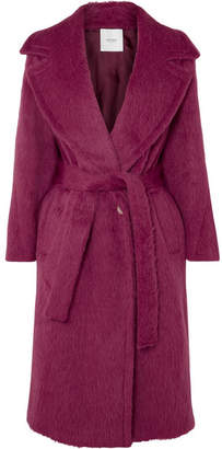 Agnona Belted Alpaca And Wool-blend Coat - Pink