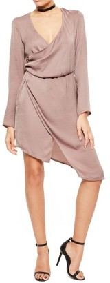 Women's Missguided Satin Wrap Dress $93 thestylecure.com