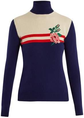 Rose-intarsia wool-blend sweater