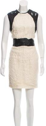 Yigal Azrouel Leather-Accented Silk Dress