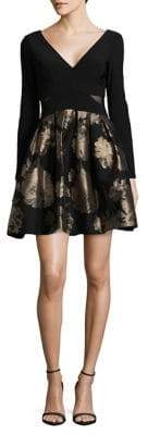 Xscape Evenings Long Sleeve Fit-and-Flare Dress