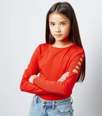 New Look Teens Orange Cut Out Long Sleeve Top