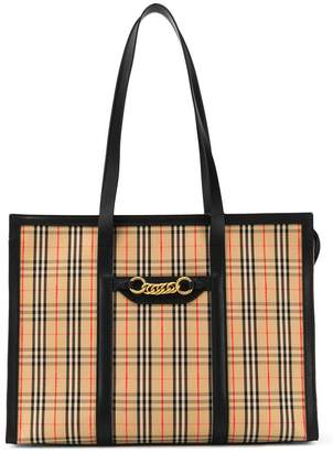 Burberry large check print tote bag