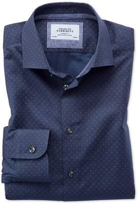 Slim Fit Semi-Spread Collar Business Casual Hoop Print Navy Blue Multi Egyptian Cotton Dress Shirt Single Cuff Size 15/34 by Charles Tyrwhitt