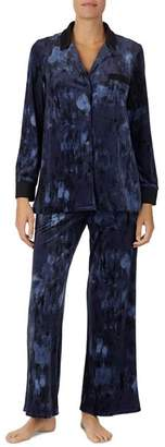 Donna Karan Velour Notch PJ Set