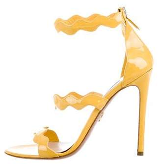 Prada Patent Leather Scalloped Sandals