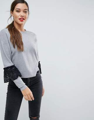 Asos Boxy Sweater With Lace Sleeve