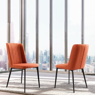Marelana Colby Contemporary Dining Chair in Matte Black Finish andOrange Fabric - Set of 2