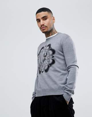 Versace jumper in grey with chest logo