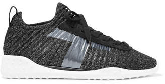 Tod's Metallic Stretch-knit And Suede Sneakers - Black