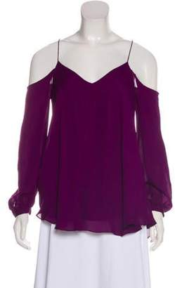 Haute Hippie Open Shoulder Silk Blouse w/ Tags Purple Open Shoulder Silk Blouse w/ Tags