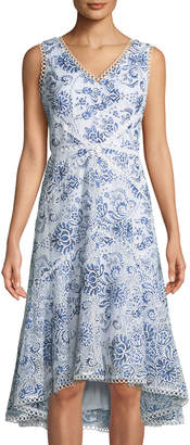 Neiman Marcus Embroidered Fit-&-Flare Midi Dress
