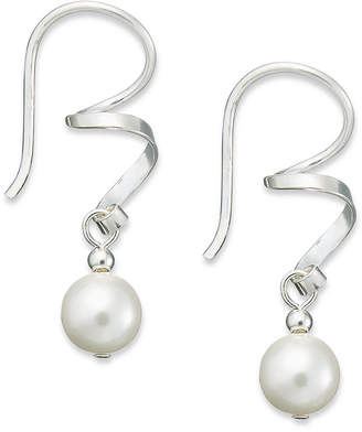 Crystal Pearl Sterling Silver Earrings, Austrian Swirl Drop Earrings