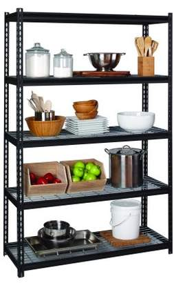 Space Solutions Iron Horse 2300LB 5 Shelf Wire Shelving Riveted Shelving Unit 18DX48WX72H