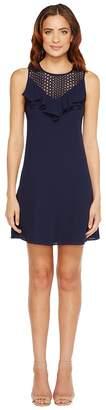 Christin Michaels Nadine Sleeveless Ruffle Dress with Lace Detail Women's Dress