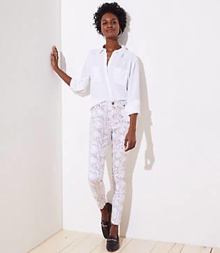 LOFT Petite Skinny Jeans in Snake Print