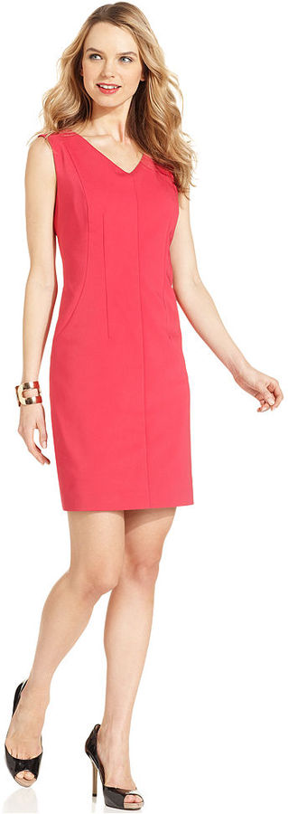 Nine West Dress, Sleeveless V-Neck Sheath