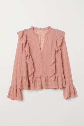H&M H&M+ Airy Blouse with Flounce - Pink