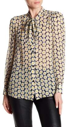 Love Moschino Floral Printed Tie Neck Blouse