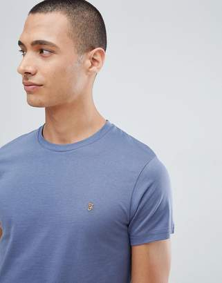Farah T-Shirt With F Logo In Slim Fit In Slate Blue