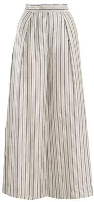 Zimmermann Painted Heart Wide Leg Striped Satin Trousers - Womens - Grey Multi