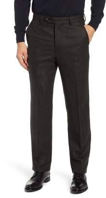 Berle Flat Front Herringbone Wool & Cashmere Trousers