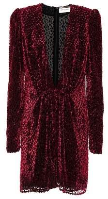 Saint Laurent Flocked velvet silk-blend dress