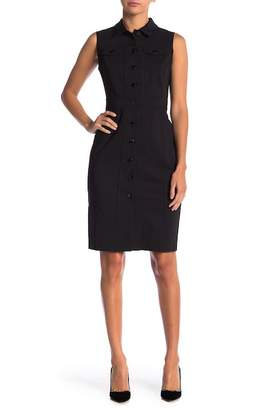 Modern American Designer Sleeveless Stretch Shirt Dress