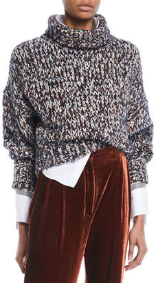 Brunello Cucinelli Turtleneck Long-Sleeve Velvet Effect Tweed Paillettes Mohair-Blend Sweater