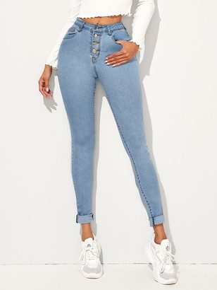 Shein Light Wash Button Front Skinny Jeans