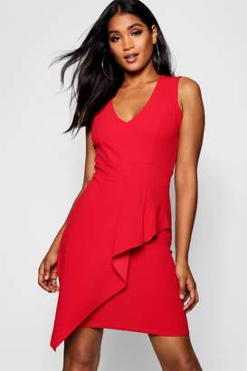 boohoo Ruffle Detail V-Neck Dress