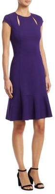 Akris Punto Cap-Sleeve Cut-Out Dress