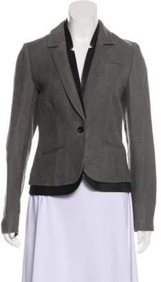 J Brand Leather-Trimmed Structured Blazer Grey Leather-Trimmed Structured Blazer