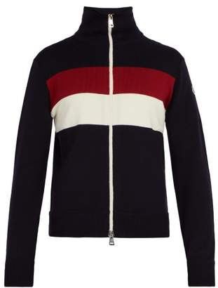 Moncler Striped Wool Blend Sweater - Mens - Navy