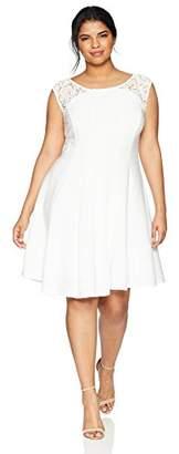 Gabby Skye Women's Plus Size Laced Cap Sleeve Seam Down Ottoman Dress