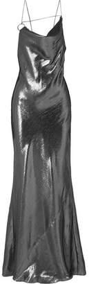 Cushnie Draped Silk-lamé Gown