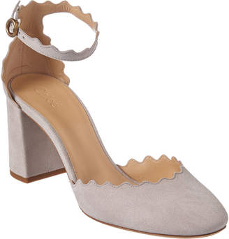 957ceb4a80cf7 Chloé Lauren Scalloped Suede Ankle-Strap Pump