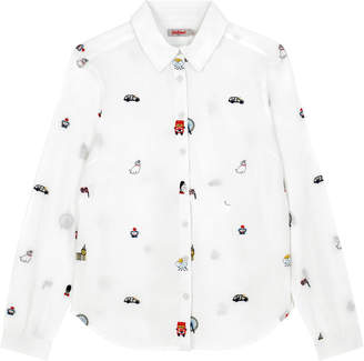 Cath Kidston London Map Embroidered Blouse