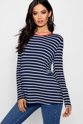 boohoo Maternity Stripe Long Sleeve Top