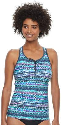 Free Country Women's Strappy Lace-Up Tankini Top