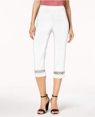 JM Collection Petite Grommet-Trim Capri Pants, Created for Macy's